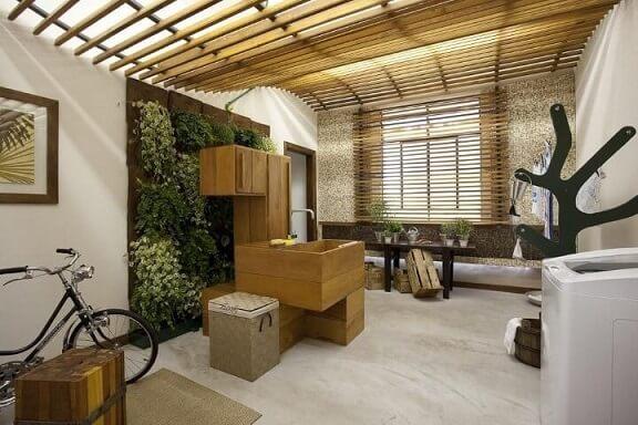 Área de serviço com tanque revestido de madeira Projeto de Projetica Design e Arquitetura