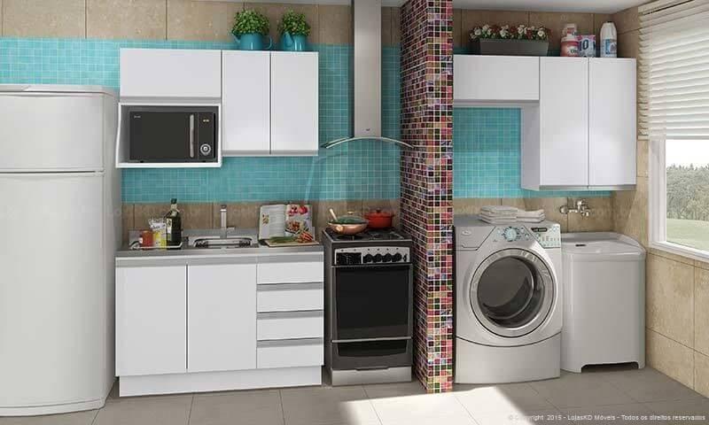 Área de serviço integrada à cozinha Projeto de LojasKD