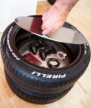 Artesanato com pneus usado para guardar objetos