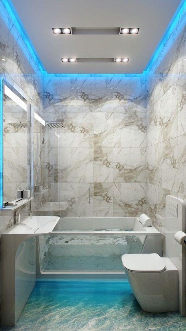 Banheiro com banheiro de vidro