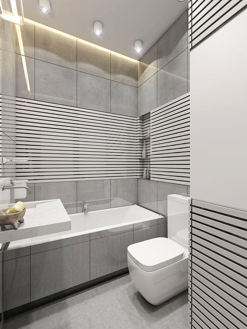 Banheiro pequeno com banheira retangular moderna