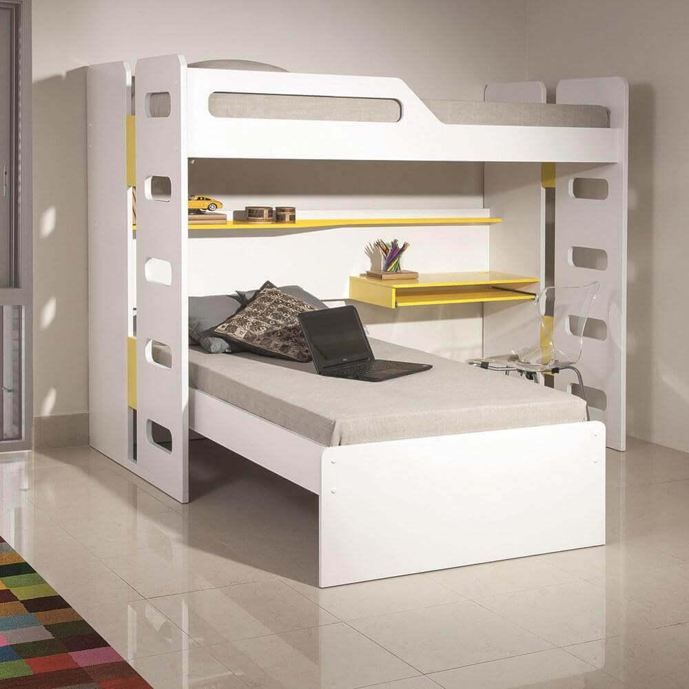 Beliche com-Escrivaninha e prateleiras