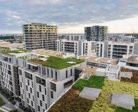Os edifícios comerciais e residencias adotam o telhado verde. Fonte: Pinterest