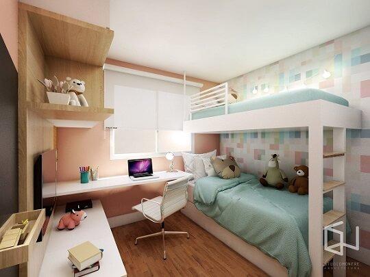 Cama suspensa infantil em quarto com cores claras Projeto de Studio Monfre Arquitetura