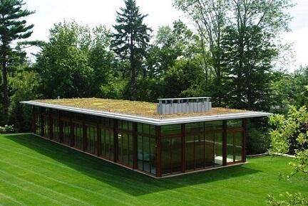 Casa com paredes de vidro e telhado verde