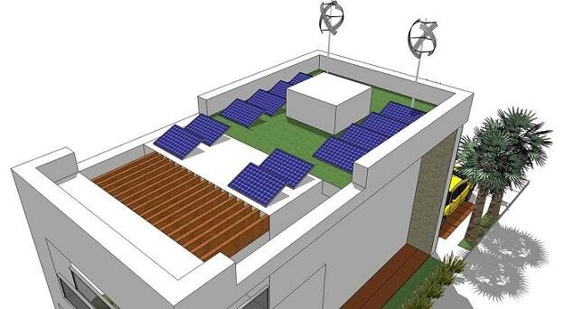 Casa com telhado verde e placas de energia solar Projeto de NN Solutions