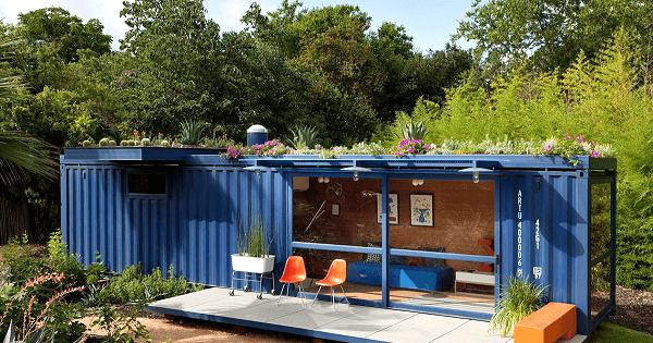 Casa container com telhado verde