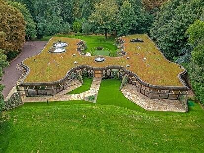 Casa extravagante com telhado verde