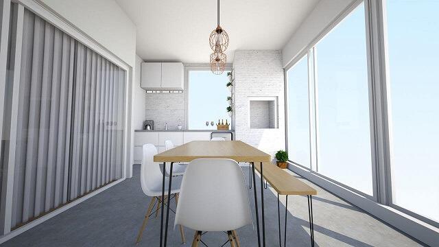 Casas modernas com varanda em cores claras