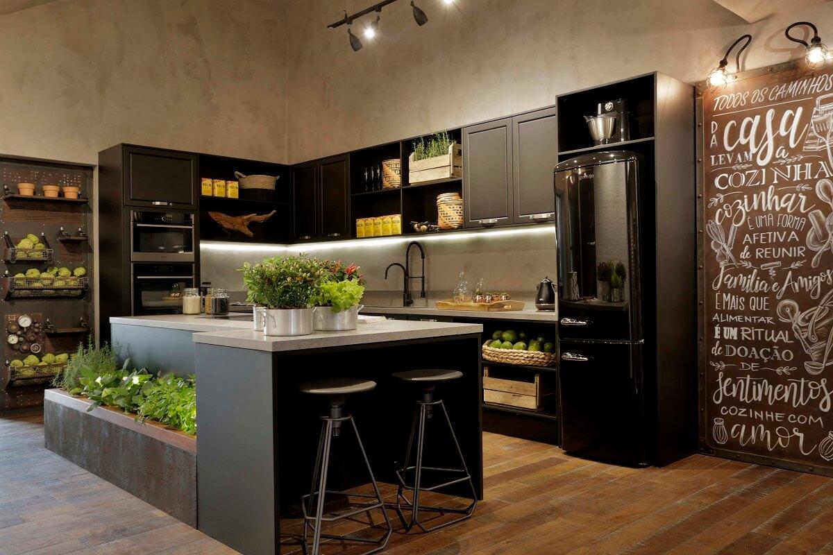 Casas modernas decorada com cozinha estilo industrial Foto Erica Salguero