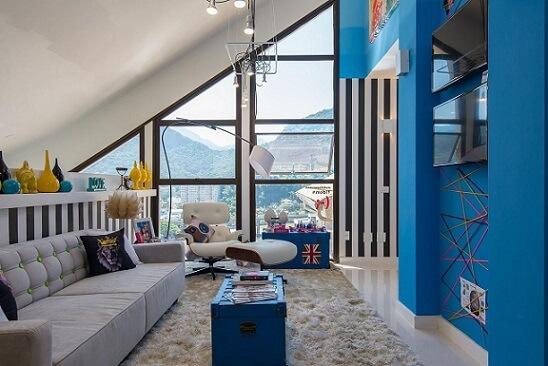 Combinação de cores azul e outros tons vivos Projeto de Morar Mais Por Menos