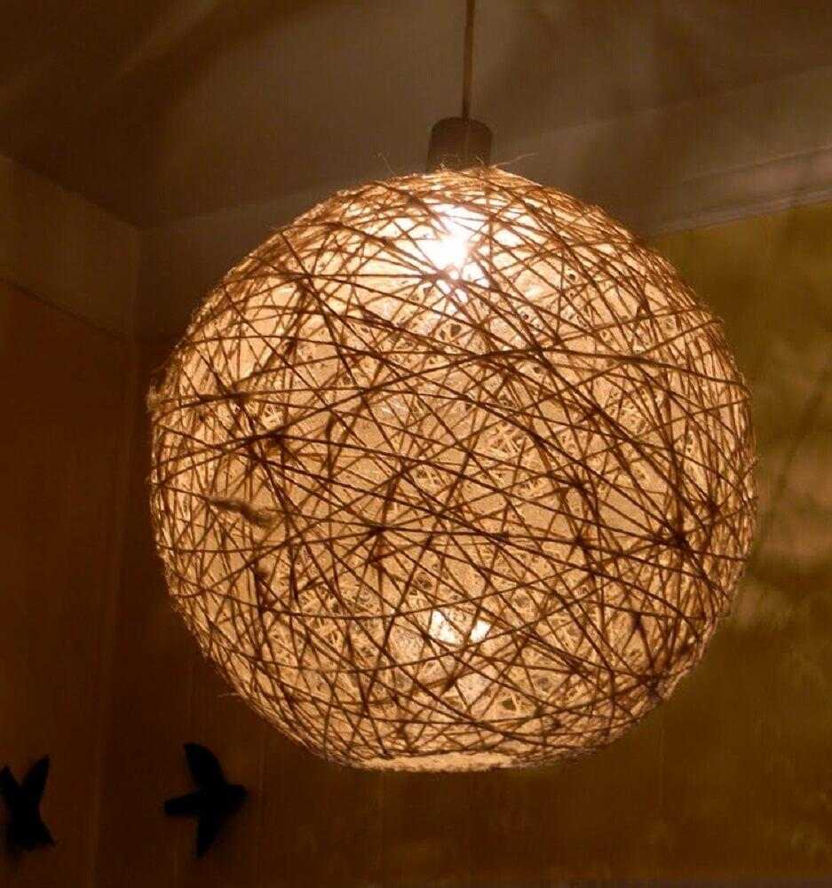 Lumin Ria De Barbante Como Fazer E Inspira Es Para Decora O -> Lustres Para Sala Artesanal