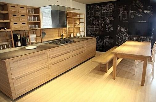 Cozinha gourmet com parede de tinta lousa e desenhos em giz branco Projeto de Fabiana Rosello