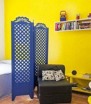 Decoração de apartamento pequeno com divisória Projeto de Casa Aberta