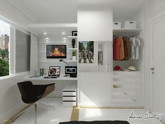 Decoração de apartamento pequeno com móvel planejado Projeto de Thiago Luz