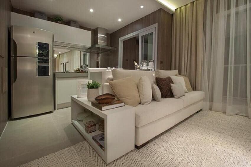 Decoração de apartamento pequeno com sala e cozinha integradas