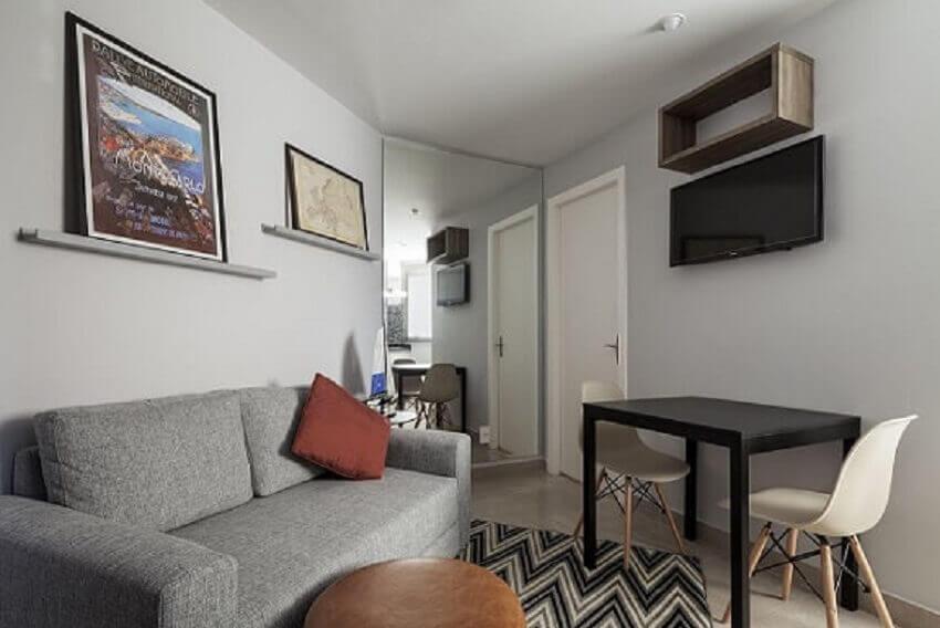 Decoração de apartamento pequeno com sala minimalista