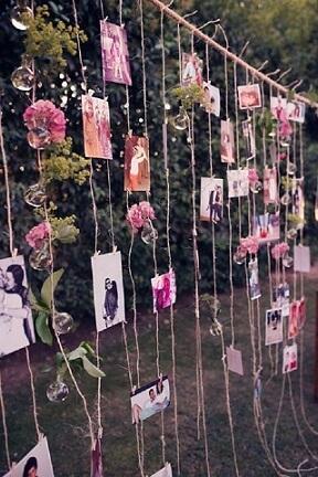 Decoração de casamento com varal de fotos