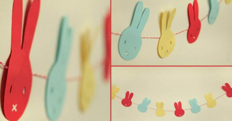 Decoração de páscoa com coelhos de papel