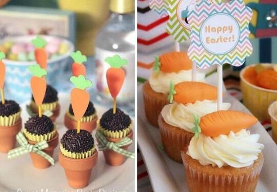 Decoração de páscoa com cupcakes e brigadeiros