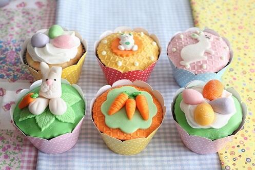Decoração de páscoa com cupcakes