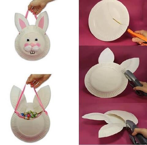 Decoração de páscoa lembrancinha de coelho feita de pratos de plástico