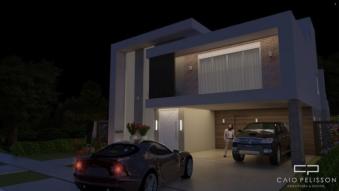 Fachadas de sobrados à noite Projeto de Arquiteto Caio Pelisson