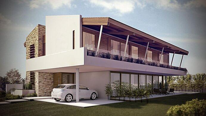 Fachadas de sobrados branca com madeira e revestimento Projeto de Martins Lucena