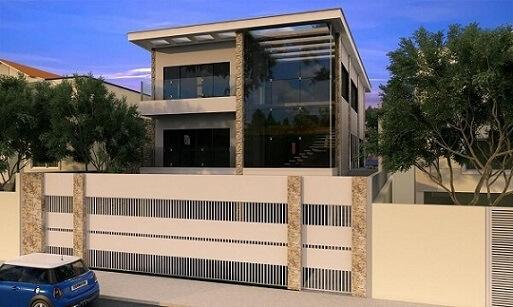 Fachadas de sobrados com portão grande Projeto de Raduan Arquitetura