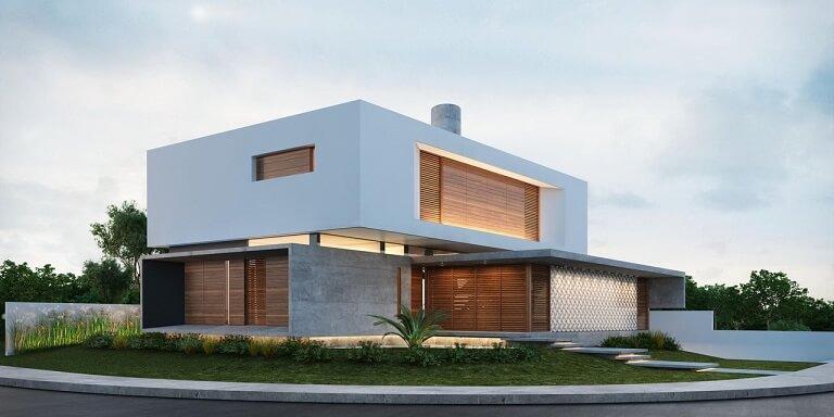 Fachadas de sobrados moderno com cimento e madeira Projeto de Martins Lucena