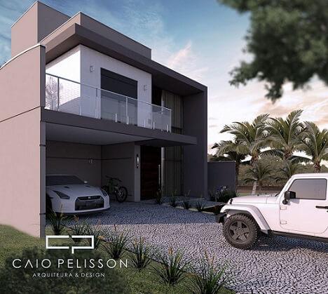Fachadas de sobrados moderno com garagem aberta Projeto de Arquiteto Caio Pelisson