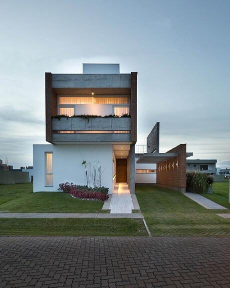Fachadas de sobrados moderno em concreto Projeto de Eduardo Paiva