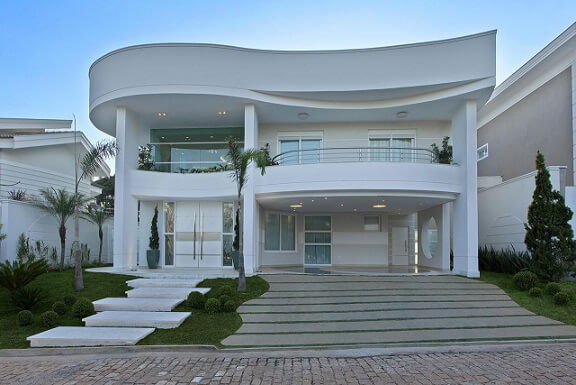 Fachadas de sobrados pequenos com curvas Projeto de Aquiles Nicolas Kilaris