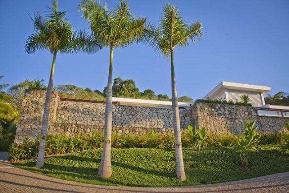 Frente de casas com muro de pedras Projeto de Daniel Nunes Paisagismo