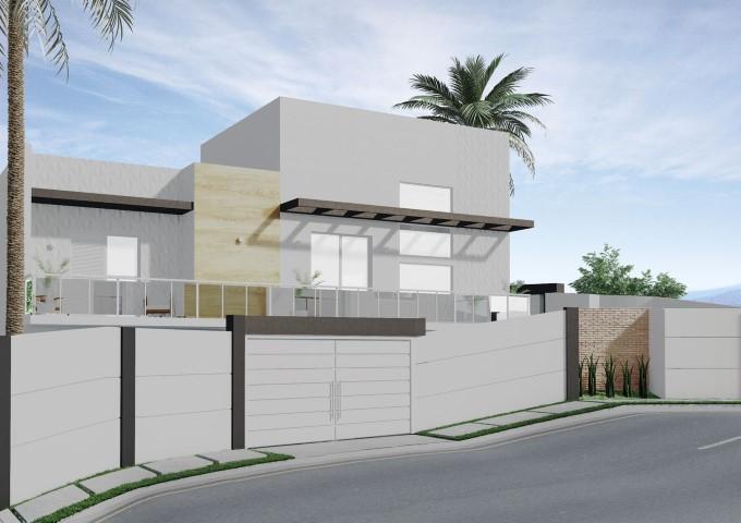 Frente de casas com varanda Projeto de Arquiteto Caio Pelisson