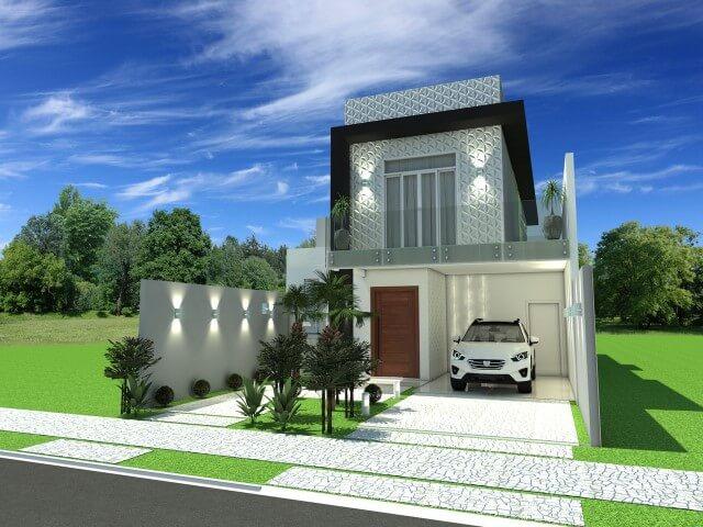 Frente de casas de dois andares com varanda Projeto de Arquiteto Caio Pelisson