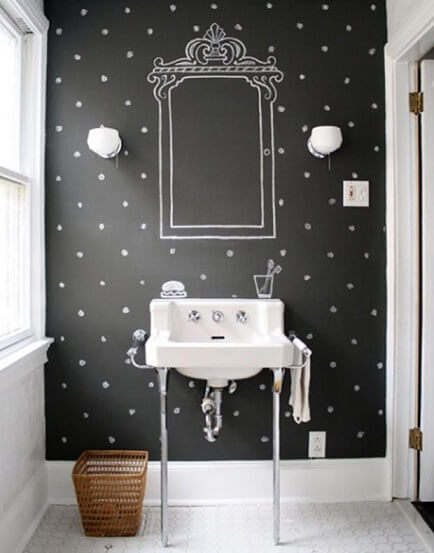 Lavabo com parede de tinta lousa