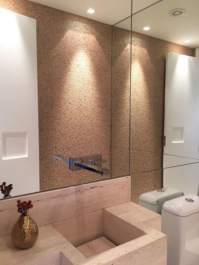 Lavabo com pia de mármore travertino Projeto de Ana Lopes