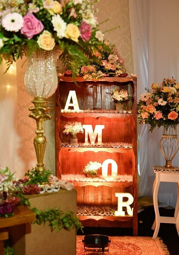 Illuminated MDF lettering is a great option for simple wedding decorating