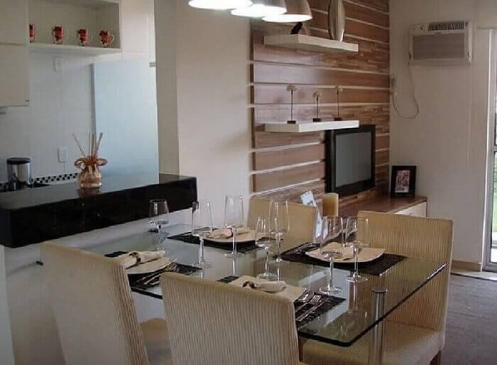 Mesa de jantar pequena para apartamento cores neutras