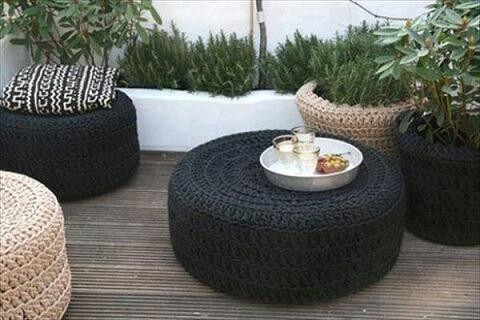 Mesas de artesanato com pneus