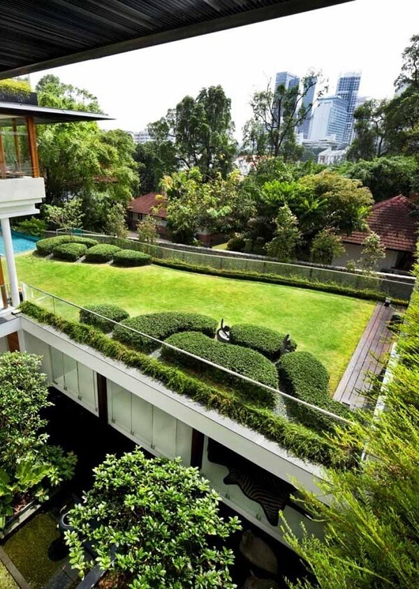 O deck de madeira trouxe um charme especial para o telhado verde