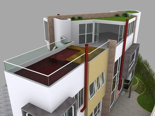 Prédio com telhado verde Projeto de Daniel Zangirolami Pedro