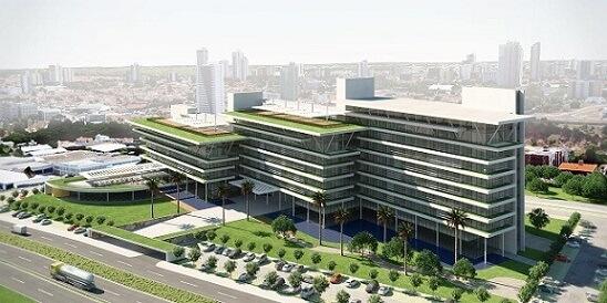Prédio comercial com telhado verde Projeto de Martins Lucena