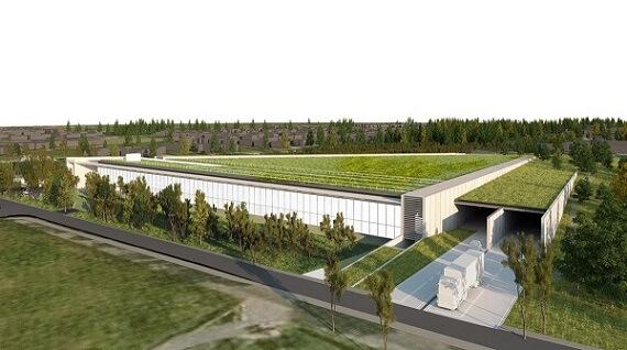 Prédio para armazenamento e conservação do Museu do Louvre com telhado verde Projeto de Rogers Stirk Harbour + Partners