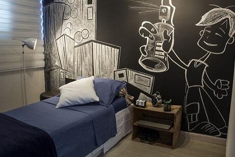Quarto de menino com parede de tinta lousa Projeto de Zark Studio Lab Serviços