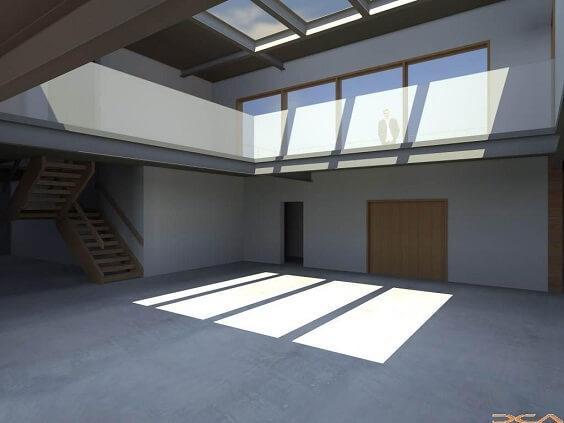 Telhado de vidro temperado dentro de casa Projeto de Derly Castro do Amaral