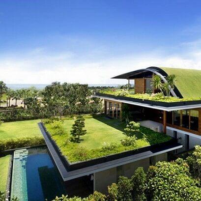 Telhado verde em casa grande
