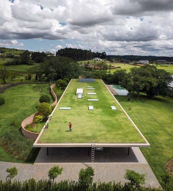 Telhado verde extenso coberto com grama