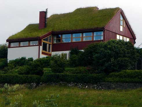 Telhado verde sobre casa de campo